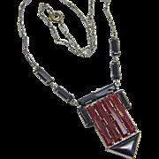 Czech Art Deco Black & Burgundy Glass Pendant Necklace