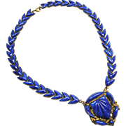 Spectacular Neiger Lapis Glass Czech Necklace