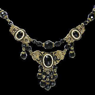 Early Black Festoon Czechoslovakian Necklace
