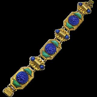 Neiger Lapis & Malachite Glass Czech Bracelet 1920-30s