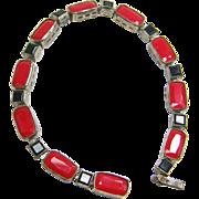 Delicate Fine Czech Red & Black Glass Art Deco Bracelet