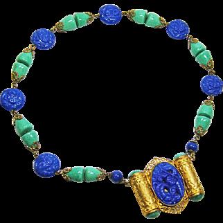Chunky Neiger Czech Lapis & Malachite Necklace