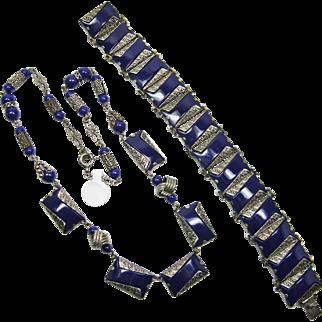 Czech Bracelet & Necklace Set Blue & Silver Color