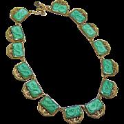 Malachite or Peking Glass Dragon Czech Necklace