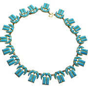 Egyptian Style Turquoise Glass Czech Necklace