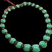Czech Malachite or Peking Glass Art Deco Green Necklace 1920-30s