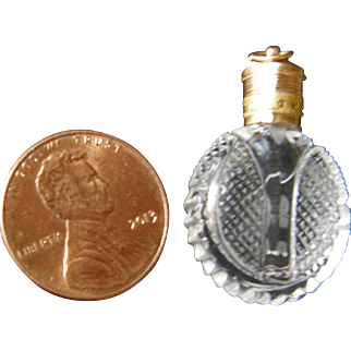 Georgian Tiny Perfume or Scent Bottle Gold Top
