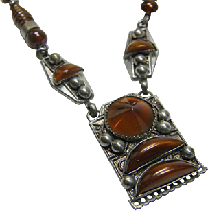 Czech Necklace 1930s unusual Copper Brown Glass Stones