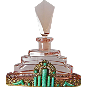 Pink Czech Jeweled Perfume Bottle 1930s