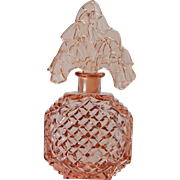 Pink Czech Perfume Bottle With Tiara Lilly of Valley Stopper