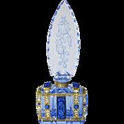 Blue Roses Jeweled Czech Perfume Bottle