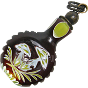 Cased Glass Bohemian Perfume or Scent Bottle with Butterflies & Mushrooms