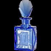 Unique 3pc Czech Royal Blue Crystal Art Deco Perfume Set