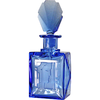 Unique 3pc Czech Royal Blue Crystal Art Deco Perfume Set