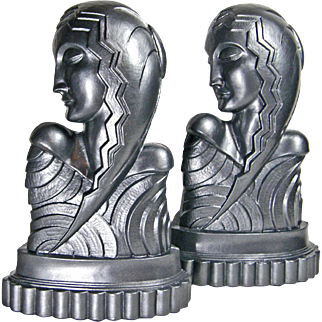 Large American 1930s Art Deco Lady Head Bookends