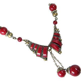 Deep Red Czech Necklace with Dangles 1920-30s
