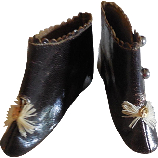 """2 3/4"""" French Fashion Half Boots Dark Brown Leather Marked"""
