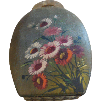 "6"" Purse Shaped Candy Container Handpainted Flowers"