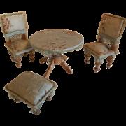4 Pc Dollhouse Furniture  Set Silk Covered