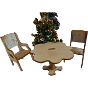 3 Pc White  Dollhouse Furniture Table and 2 Chairs