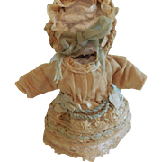 """3 3/4"""" Lace and Ribbon Dress and Bonnet for Antique All Bisque Doll"""