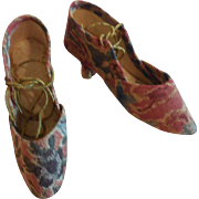 """2 1/2"""" Early Fabric Covered Heeled Shoes for Paper Mache or Wood Dolls"""