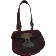 Tiny Reddish Brown Leather French Fashion Purse