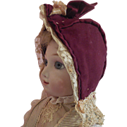 Burgundy Wool Bonnet as is