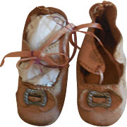 """2 3/8"""" Pale Pink Leather Doll Shoes"""