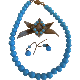 3 Pcs Blue Glass Bead  Necklace, Earrings and Belt Decoration