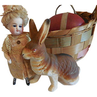 """5"""" Plaster Bunny with Painted Eyes  Marked Germany"""