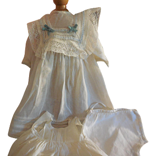 3 Pc Factory Dress, Slip and Panties for Antique Bisque Doll