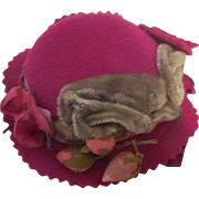 Red Felt Decorated Hat for Bluette or German or French Bebe