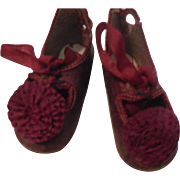E Jumeau Shoes with Burgundy Rosettes Size 5