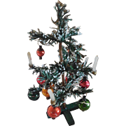 "7"" Christmas Tree with Original Ornaments and Candles  Made in Germany"