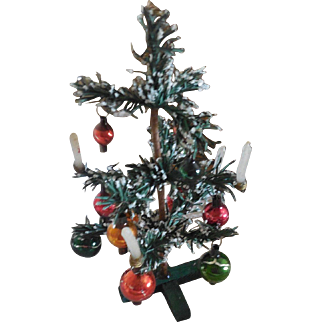 """7"""" Christmas Tree with Original Ornaments and Candles  Made in Germany"""