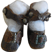 """Brown Keystone French Bebe Shoes 1 3/4"""""""