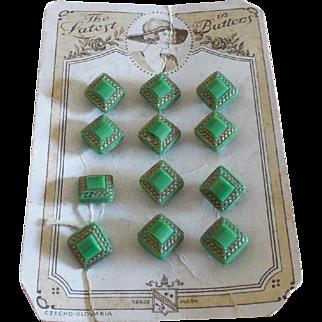 12 Green Glass Buttons