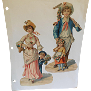 2 Vintage Scraps of Man and Women with Children