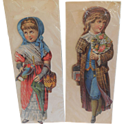 2 Vintage Scraps of Young Man and Young Woman