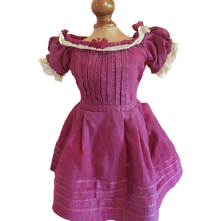 "10"" Burgundy Bebe Dress for Rohmer, Bru other French Doll"