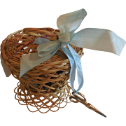 Tiny Wicker Sewing Basket for French Fashion or Tiny Bebe