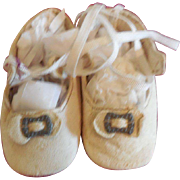 "3"" White Leather Doll Shoes for German Doll"