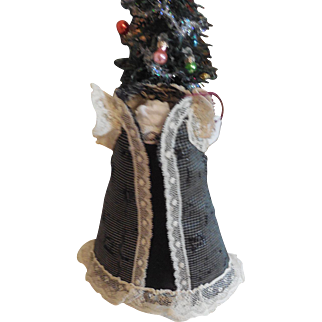 """4 1/2"""" Silk and Lace Dress for Large All Bisque or Small Bebe  German French"""