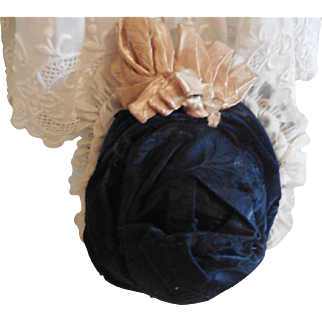 """Navy Velvet and Silk Hat for 11""""-12"""" German or French Doll"""