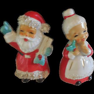 Vintage Santa and Mrs. Santa Salt and Pepper Shakers