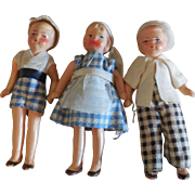 3 Painted Bisque Doll House Children