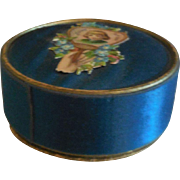 Blue Silk Powder Box for French Fashion or Bebe