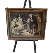 Woven Silk Picture by F. Morgan of Children Playing Blind Man's Bluff