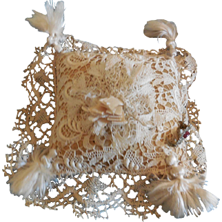 """Lace Covered Pin Cushion 4"""" Square"""